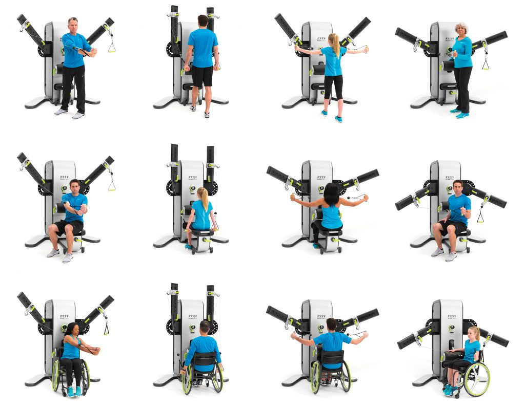 VERSATILITY & ACCESSABILITY — Two independent arms rotate 180 degrees while patented carts travel in and out along the arms. This combination caters to individual body sizes, reaches and comfort, allowing for hundreds of upper and lower body exercises to be completed on one machine and performed while standing, seated, or in a wheelchair.